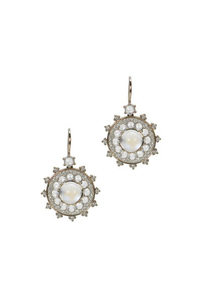 Nam Cho - Gold Moonstone Sapphire Diamond Earrings