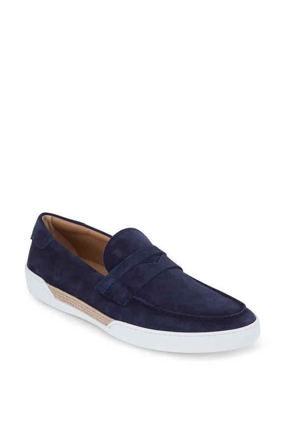 Tod's Gomma Navy Blue Suede Penny Loafer