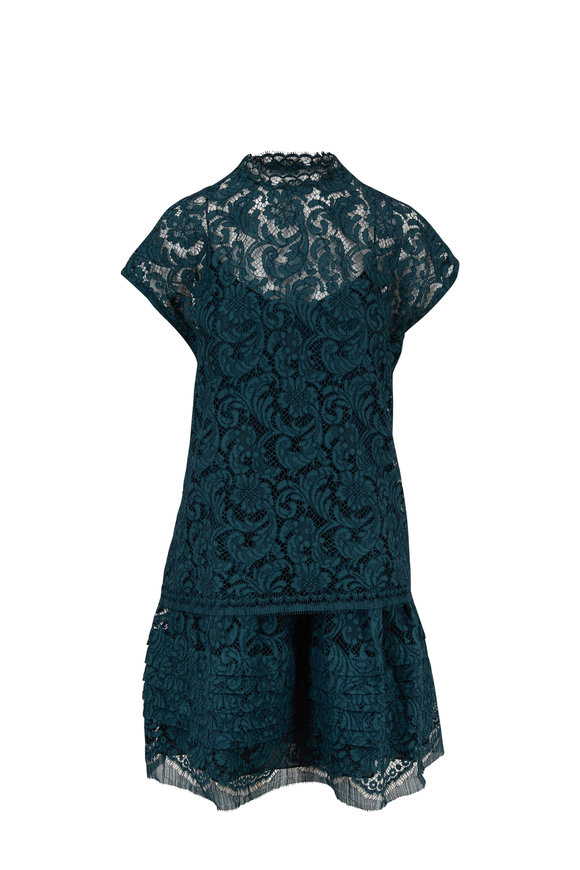 Adam Lippes Emerald Lace Tiered Cap Sleeve Dress