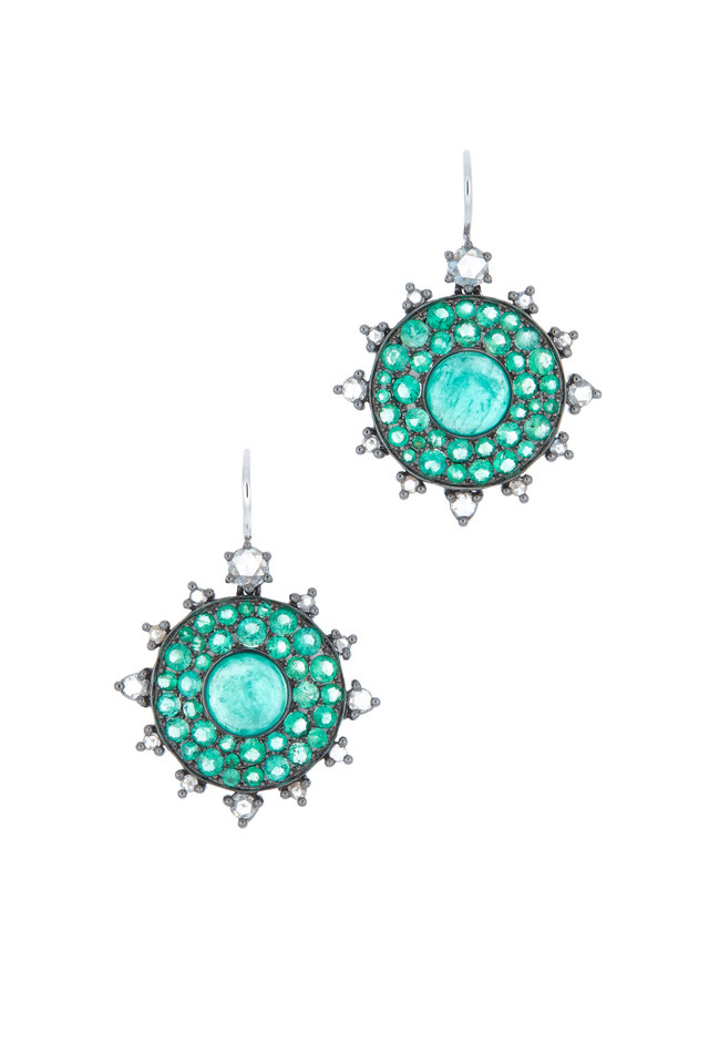 Bullseye Gold Emerald Diamond Earrings