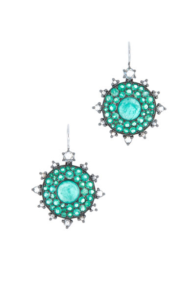 Nam Cho - Bullseye Gold Emerald Diamond Earrings