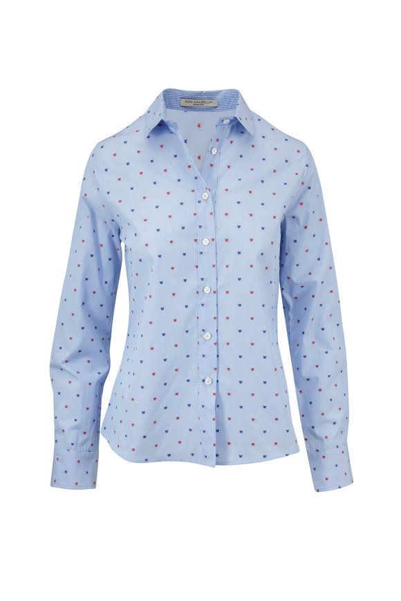 Rani Arabella Light Blue & Red Butterfly Embroidered Shirt
