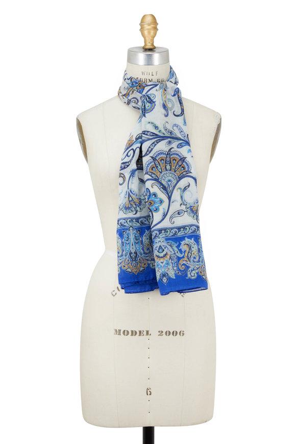 Etro Royal Blue Paisley Wool & Silk Scarf