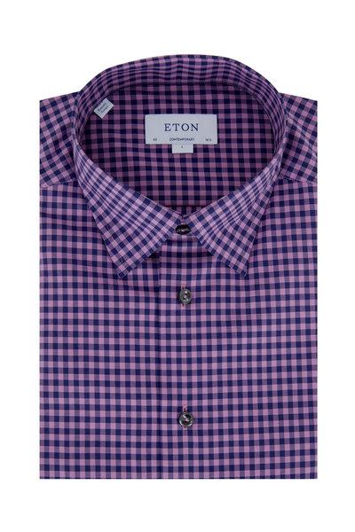 Eton - Navy Blue & Pink Gingham Contemporary Sport Shirt