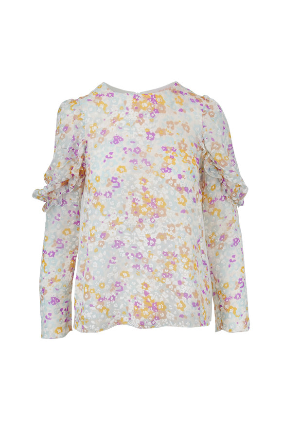 See by Chloé Multicolor Silk Ruffle Sleeve Top