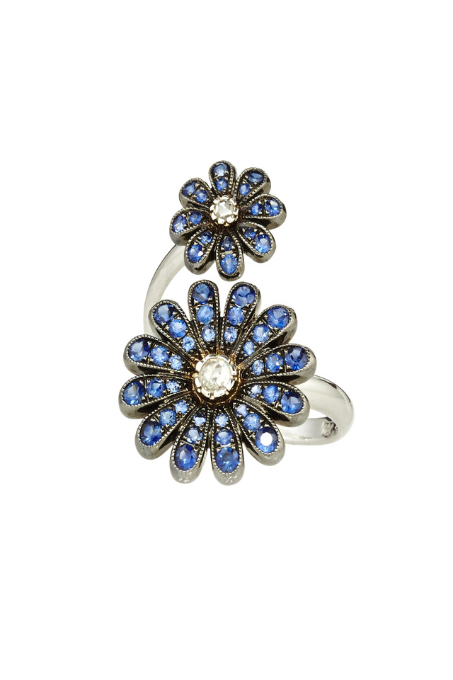 Pink Gold Champagne Diamond Double Daisy Ring