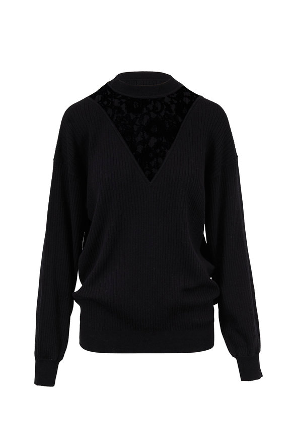 See by Chloé Black Illusion Lace Wool & Cotton Sweater