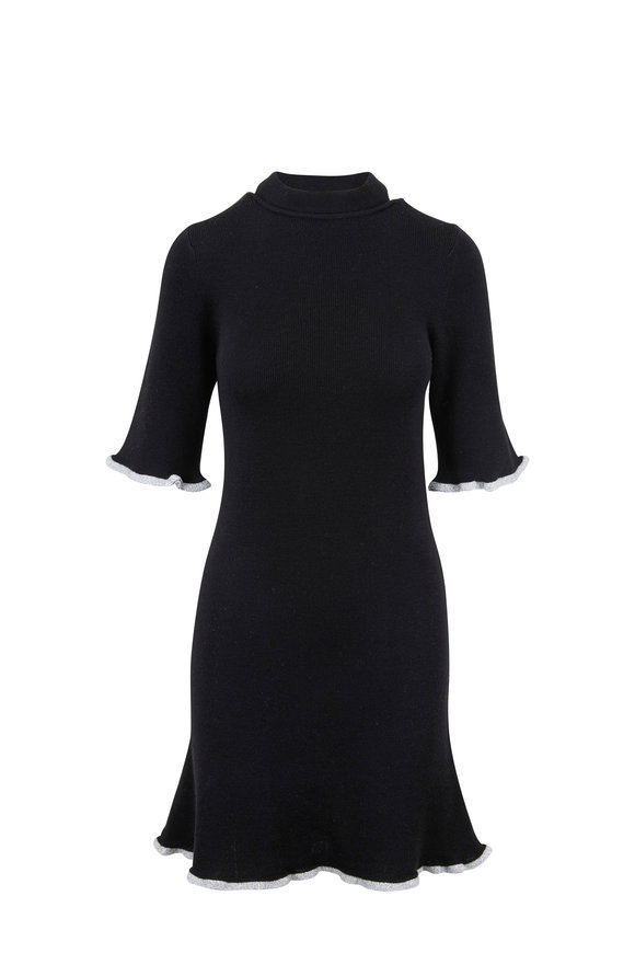 See by Chloé Black Wool Metallic Trim Knit Dress