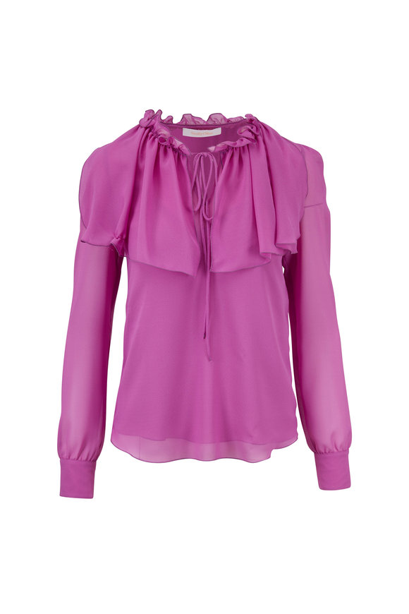 See by Chloé Striking Purple Keyhole Front Blouse
