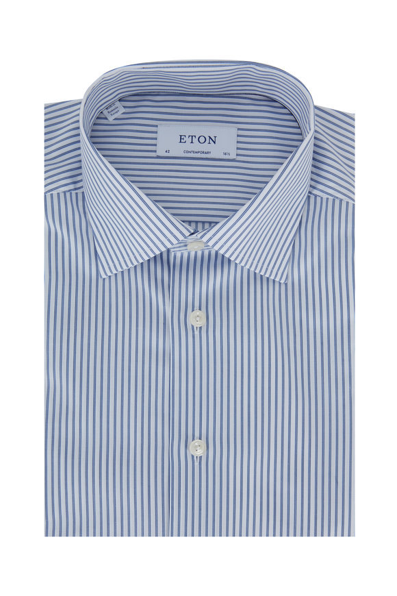 Eton Blue & White Stripe Contemporary Fit Dress Shirt