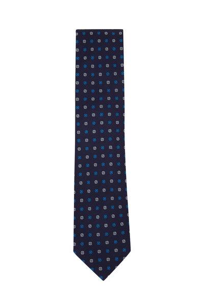 Eton - Navy Mini Floral Silk Necktie