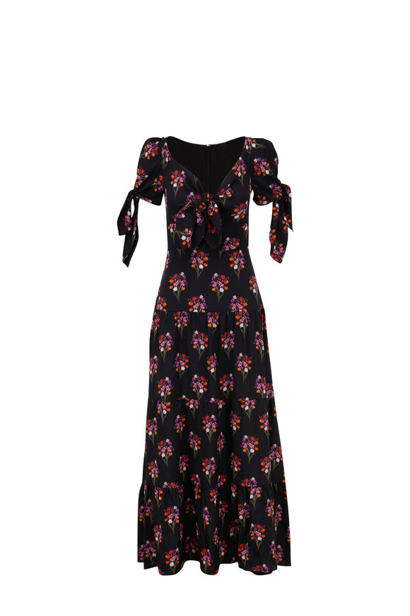 Borgo De Nor Ophelia Black Silk Floral Printed Maxi Dress