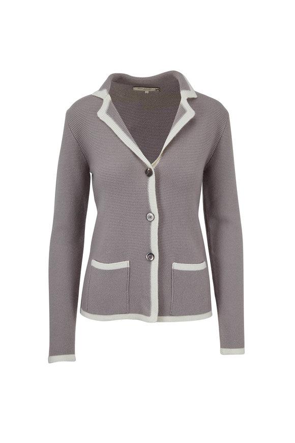 Rani Arabella Mushroom Cashmere Two Tone Knit Jacket