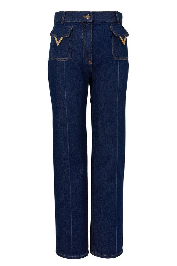 Valentino Logo Dark Wash Crop Flare Jean