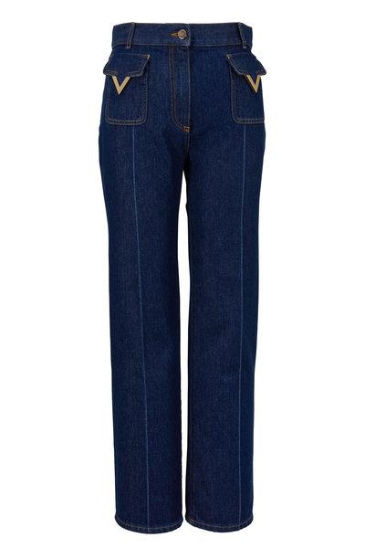 Valentino - Logo Dark Wash Crop Flare Jean