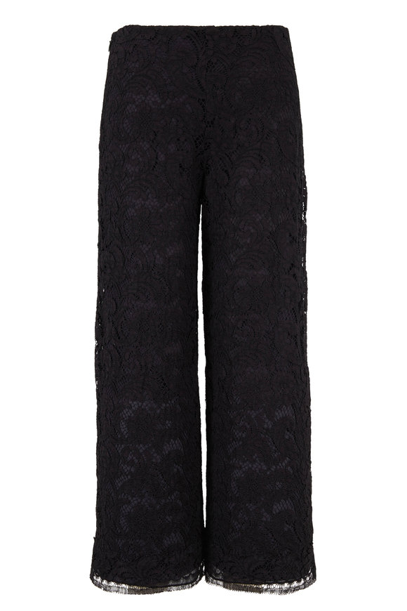 Adam Lippes Black Lace Crop Flare Pant