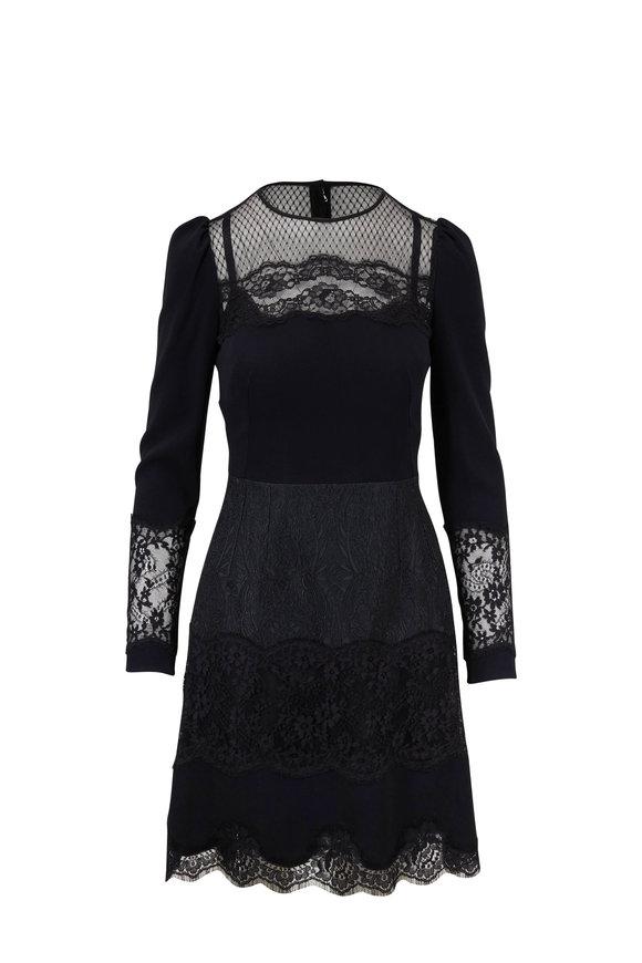 Dolce & Gabbana Black Lace Inset Long Sleeve Dress