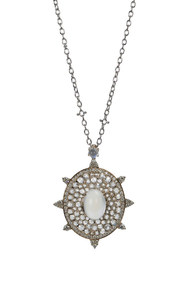 Blue Moonstone Rose-Cut Diamond Bullseye Necklace