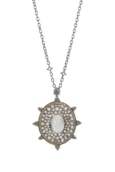 Nam Cho - Blue Moonstone Rose-Cut Diamond Bullseye Necklace