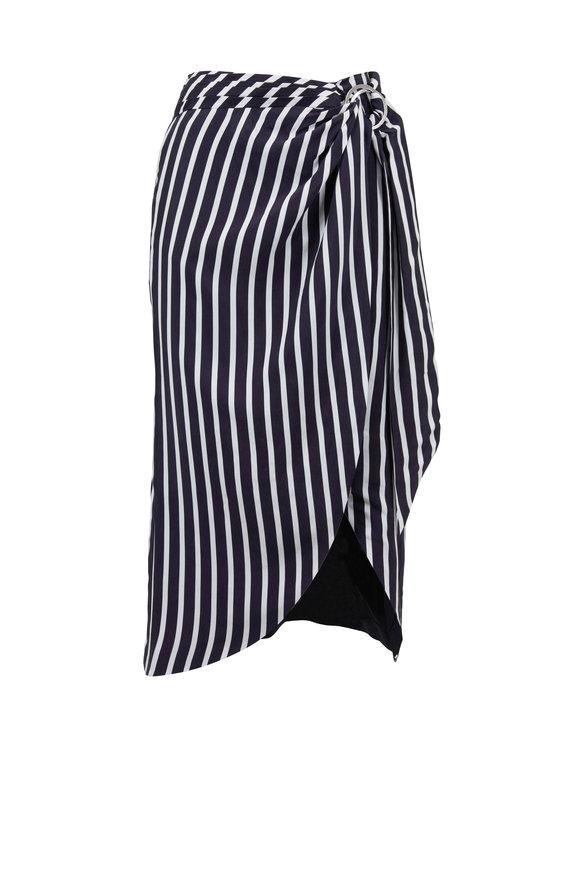 Jonathan Simkhai Midnight & White Striped Wrap Skirt