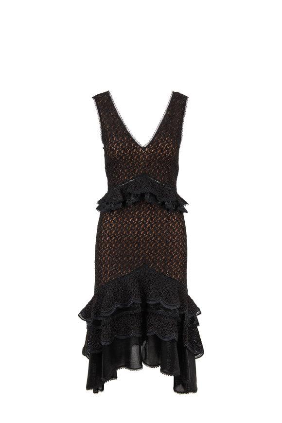 Jonathan Simkhai Black Ruffle Lace Knit Dress