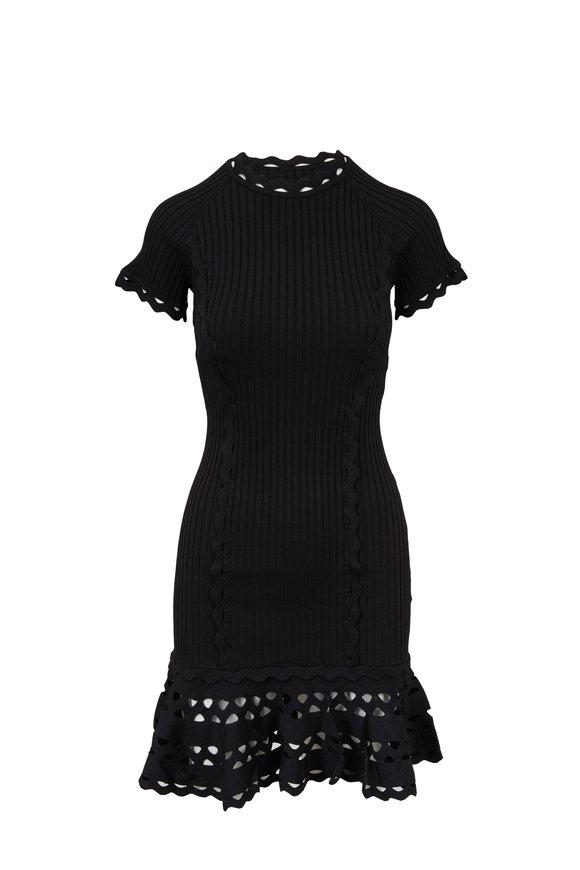 Jonathan Simkhai Black Zig Zag Trim Ribbed Dress