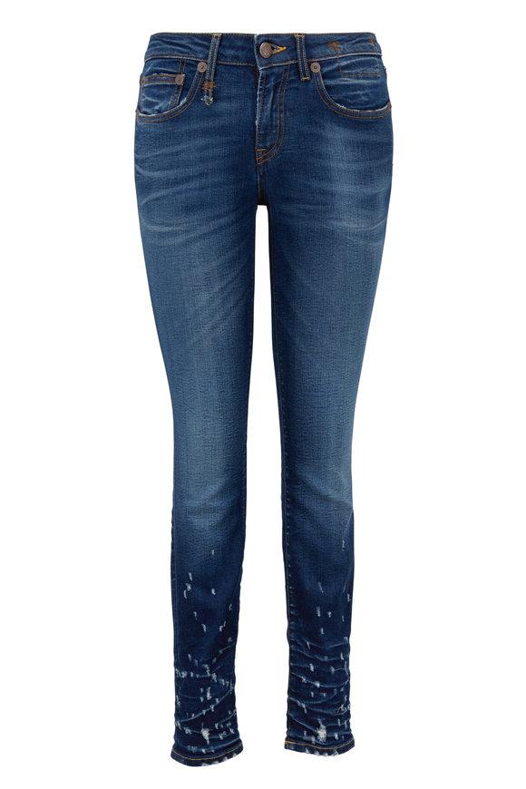 R13 Alison Medium Wash Ripped Cuffs Skinny Jean