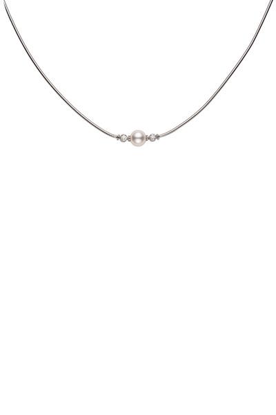 Mikimoto - White Gold Akoya Pearl Diamond Pendant