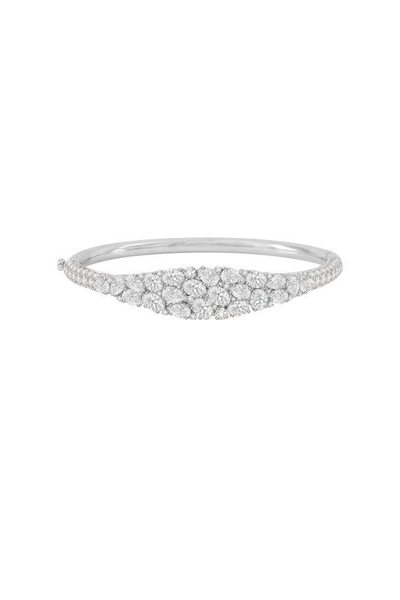 Sutra 18K White Gold Full Cut Diamond Bracelet