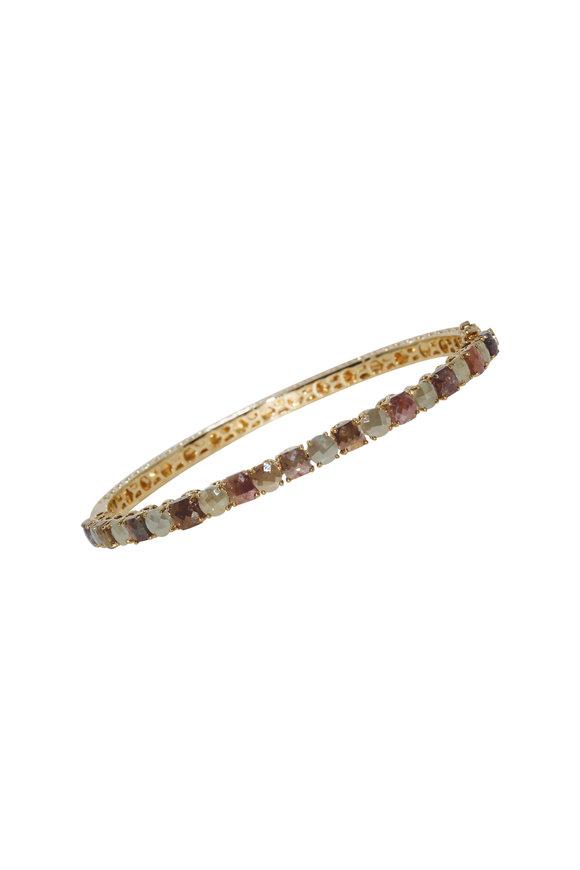 Sutra 18K Yellow Gold Newline Diamond Bangle