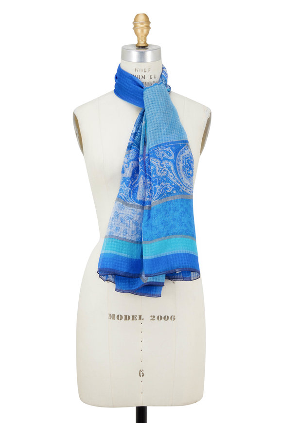 Etro Turquoise & Royal Blue Seersucker Silk Scarf