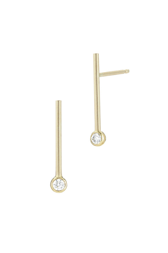 Mizuki 14K Yellow Gold Diamond Short Bar Earrings