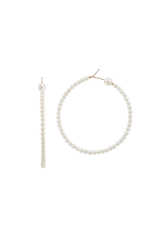 Mizuki 14K Gold Akoya Pearl Hoop Earrings