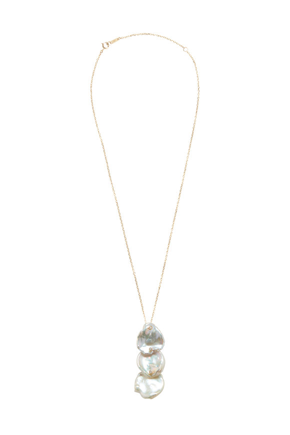 Mizuki 14K Yellow Gold Triple Pearl Drop Necklace