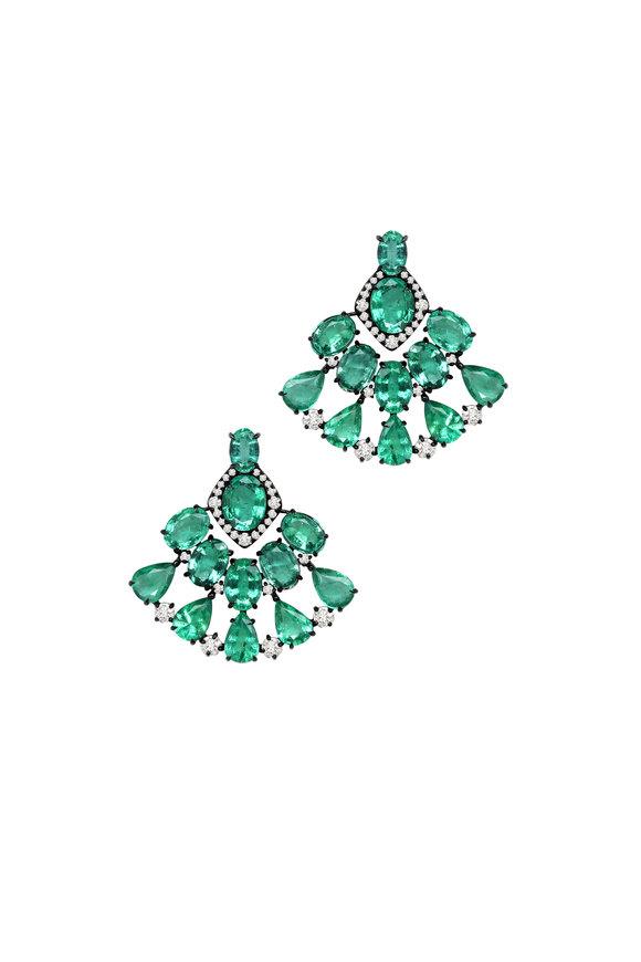 Sutra 18K White Gold Emerald & Diamond Earrings