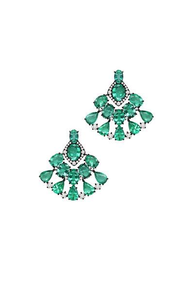 Sutra - 18K White Gold Emerald & Diamond Earrings