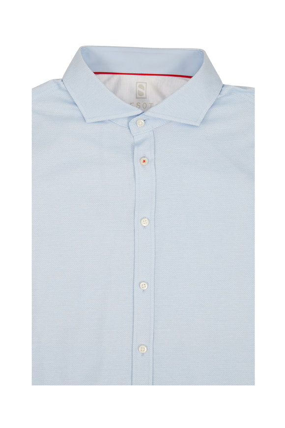 Desoto Light Blue Mini Geometric Sport Shirt