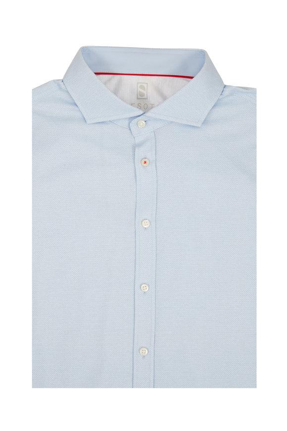 Desoto Light Blue Mini Geometric Sport Shirt