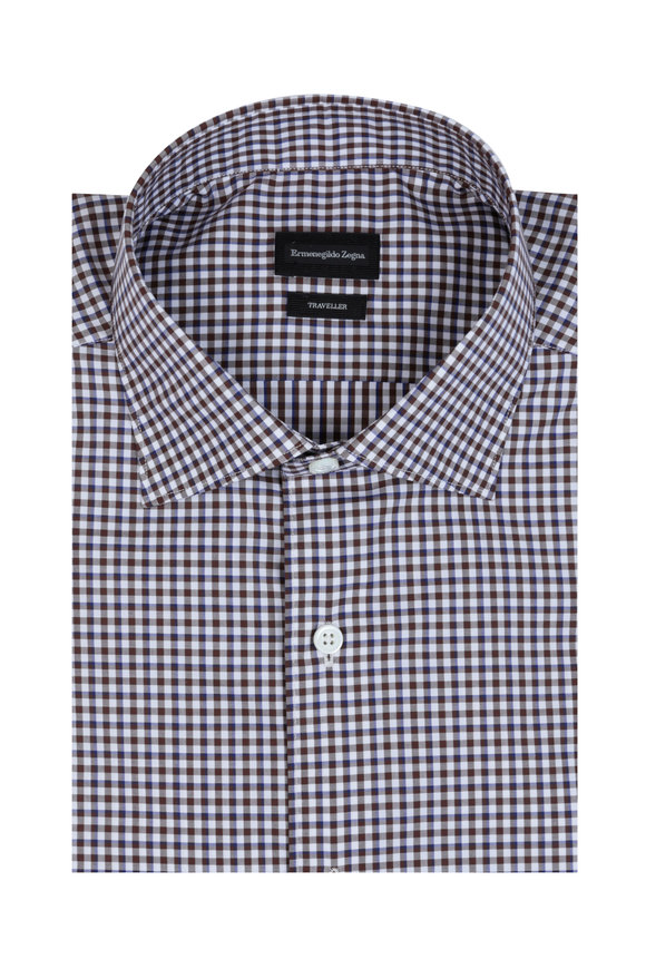 Ermenegildo Zegna Brown Check Cotton Sport Shirt