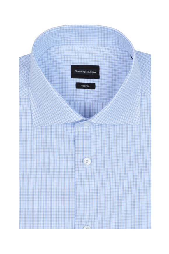 Ermenegildo Zegna Light Blue Check Dress Shirt