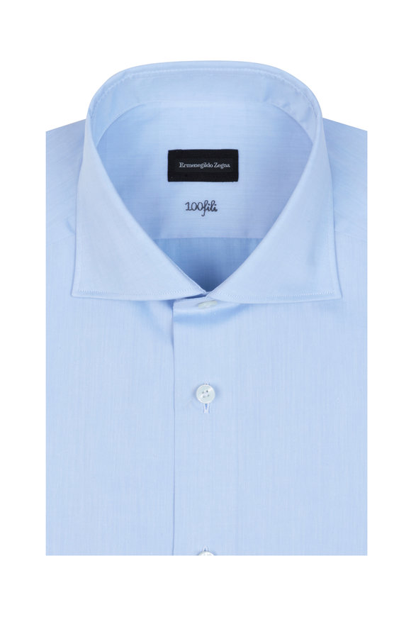 Ermenegildo Zegna Solid Light Blue Dress Shirt