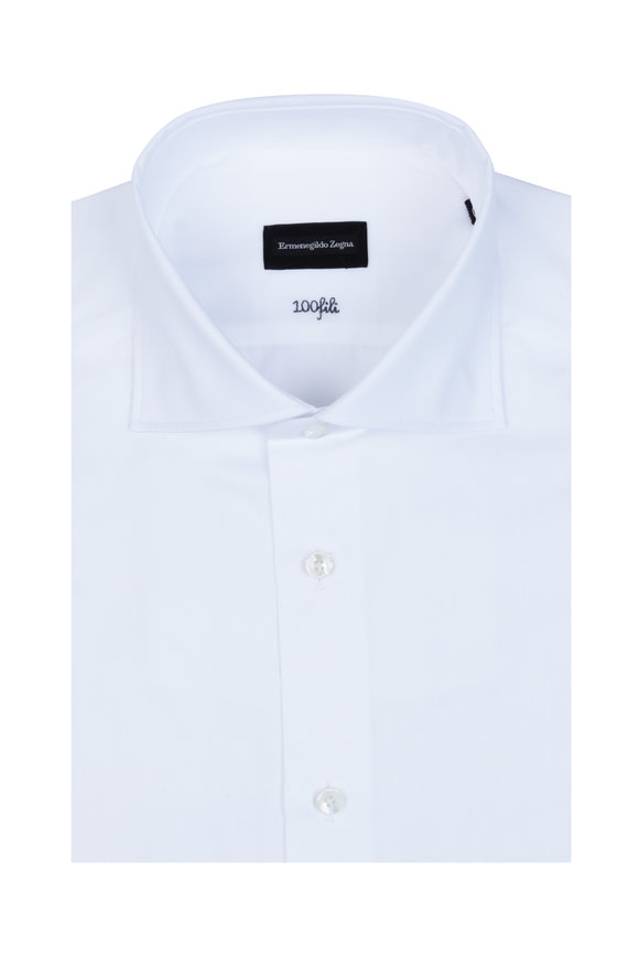 Ermenegildo Zegna Solid White Dress Shirt