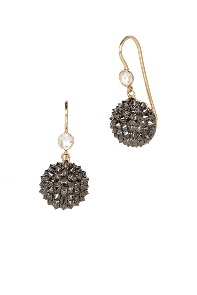 Gold Black & White Diamond Half Ball Drop Earrings
