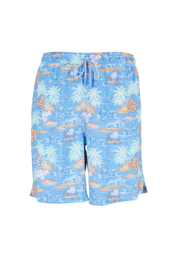 Peter Millar Seaside Blue Hawaiian Sunset Swim Trunks