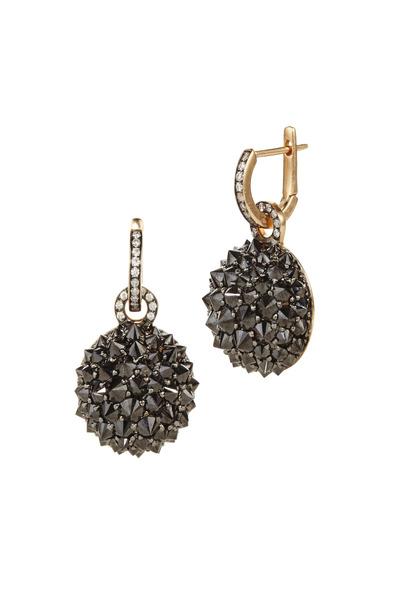 Nam Cho - Pink Gold Black & White Diamond Spike Earrings
