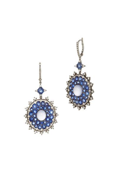 Nam Cho - Gold Sapphire & Chalcedony & Diamond Earrings