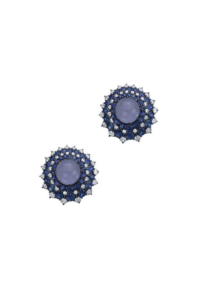White Gold Chalcedony & Sapphire & Diamond Studs