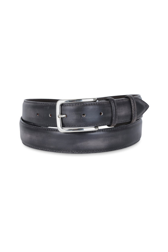 Bontoni Dark Gray Leather Belt