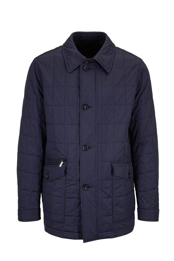 Ermenegildo Zegna Navy Blue Quilted Water Repellent Car Coat
