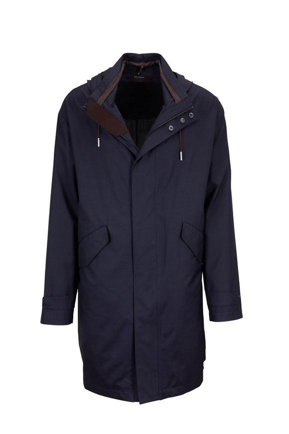 Ermenegildo Zegna Navy Blue Wool & Silk Traveler Hooded Coat